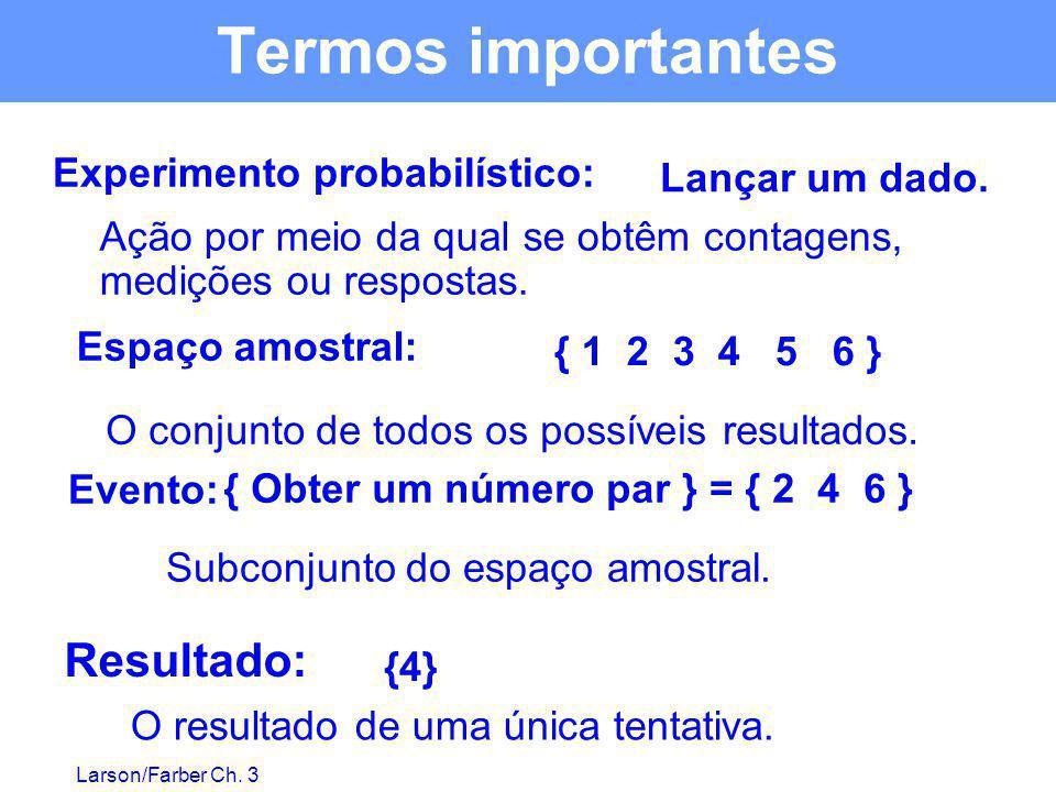 Larson/Farber Ch. 3 { 1 2 3 4 5 6 } { Obter um número par } = { 2 4 6 } {4} Lançar um dado. Experimento probabilístico: Ação por meio da qual se obtêm