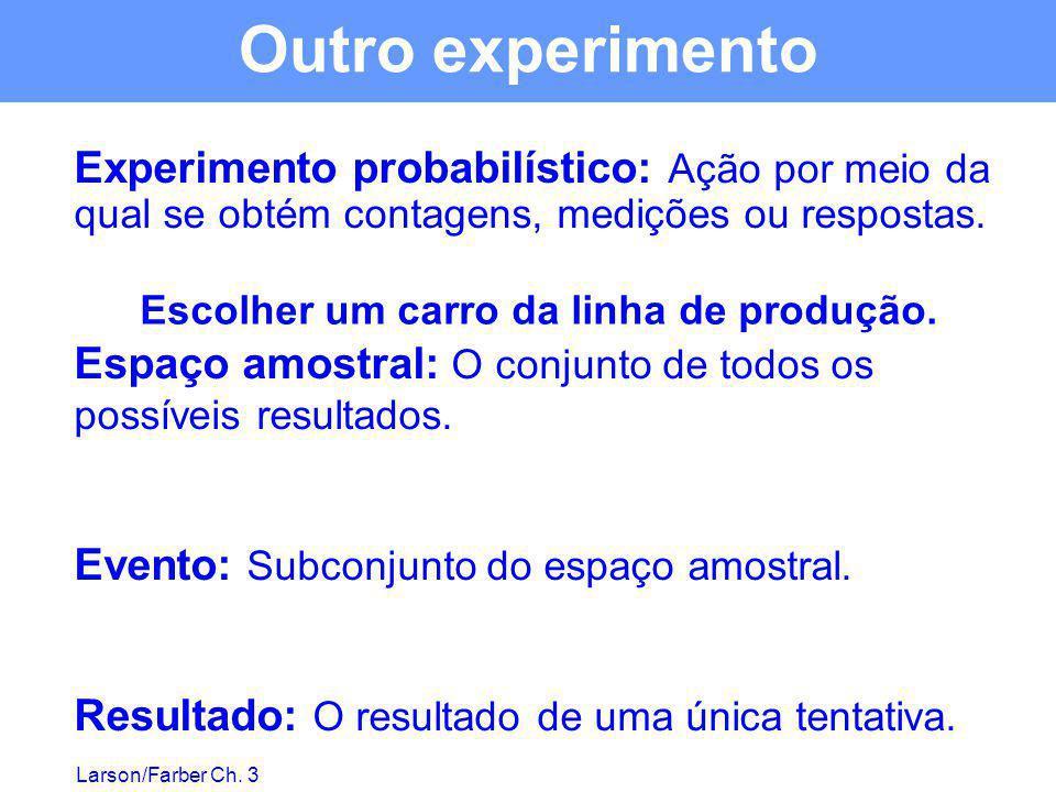 Larson/Farber Ch. 3 Experimento probabilístico: Ação por meio da qual se obtém contagens, medições ou respostas. Espaço amostral: O conjunto de todos