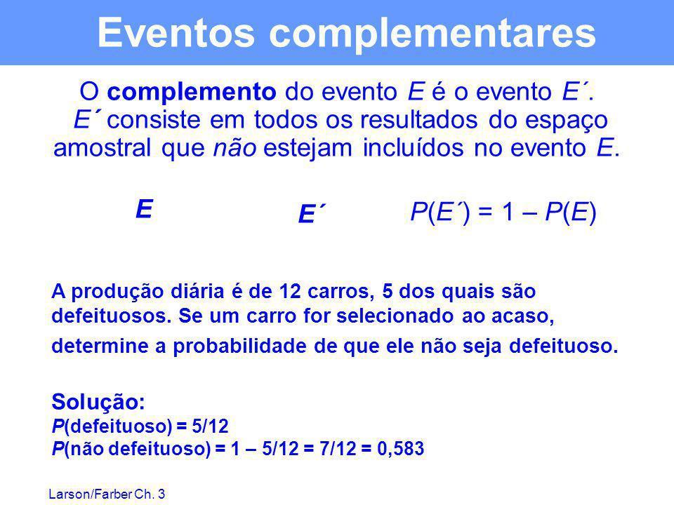 Larson/Farber Ch. 3 Eventos complementares O complemento do evento E é o evento E´. E´ consiste em todos os resultados do espaço amostral que não este