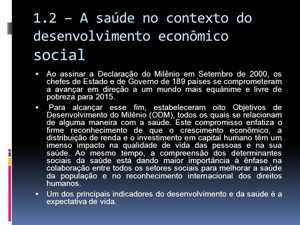 1.2 – A saúde no contexto do desenvolvimento econômico social Ao assinar a Declaração do Milênio em Setembro de 2000, os chefes de Estado e de Governo