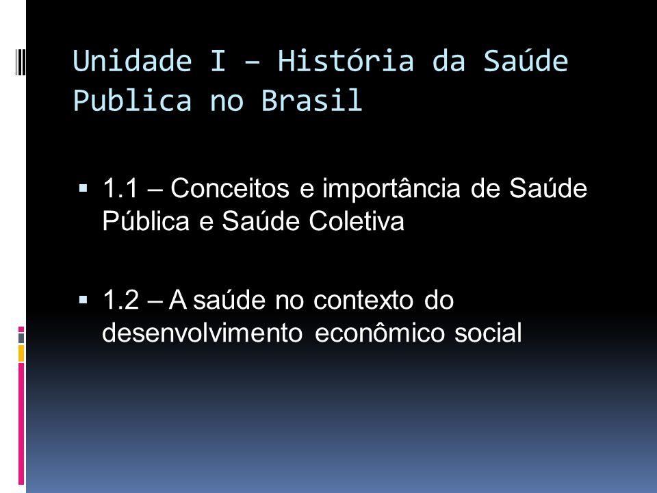 Unidade I – História da Saúde Publica no Brasil 1.1 – Conceitos e importância de Saúde Pública e Saúde Coletiva 1.2 – A saúde no contexto do desenvolv