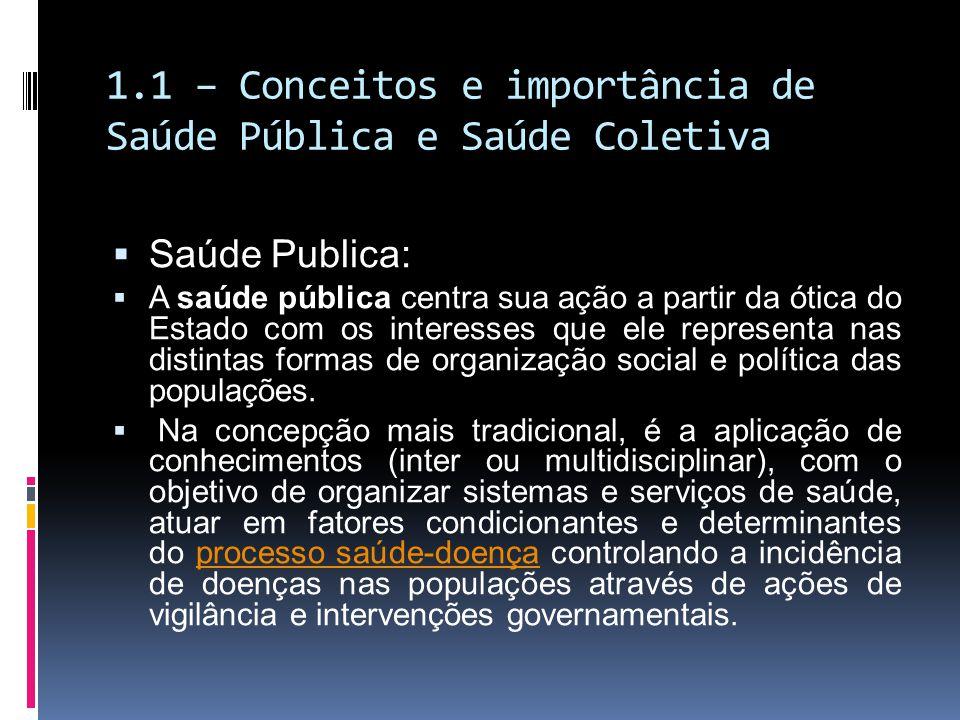 1.1 – Conceitos e importância de Saúde Pública e Saúde Coletiva Saúde Publica: A saúde pública centra sua ação a partir da ótica do Estado com os inte