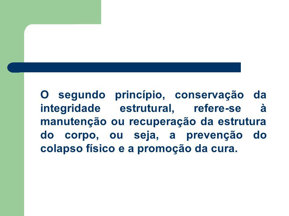 O segundo princípio, conservação da integridade estrutural, refere-se à manutenção ou recuperação da estrutura do corpo, ou seja, a prevenção do colap