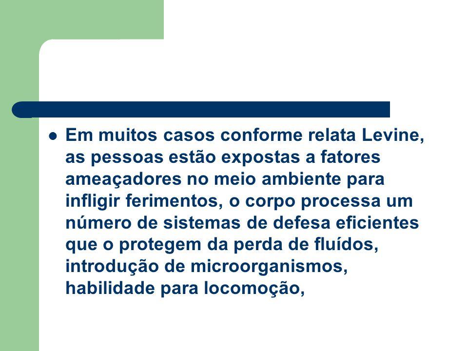 Em muitos casos conforme relata Levine, as pessoas estão expostas a fatores ameaçadores no meio ambiente para infligir ferimentos, o corpo processa um