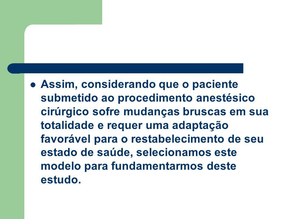 Assim, considerando que o paciente submetido ao procedimento anestésico cirúrgico sofre mudanças bruscas em sua totalidade e requer uma adaptação favo