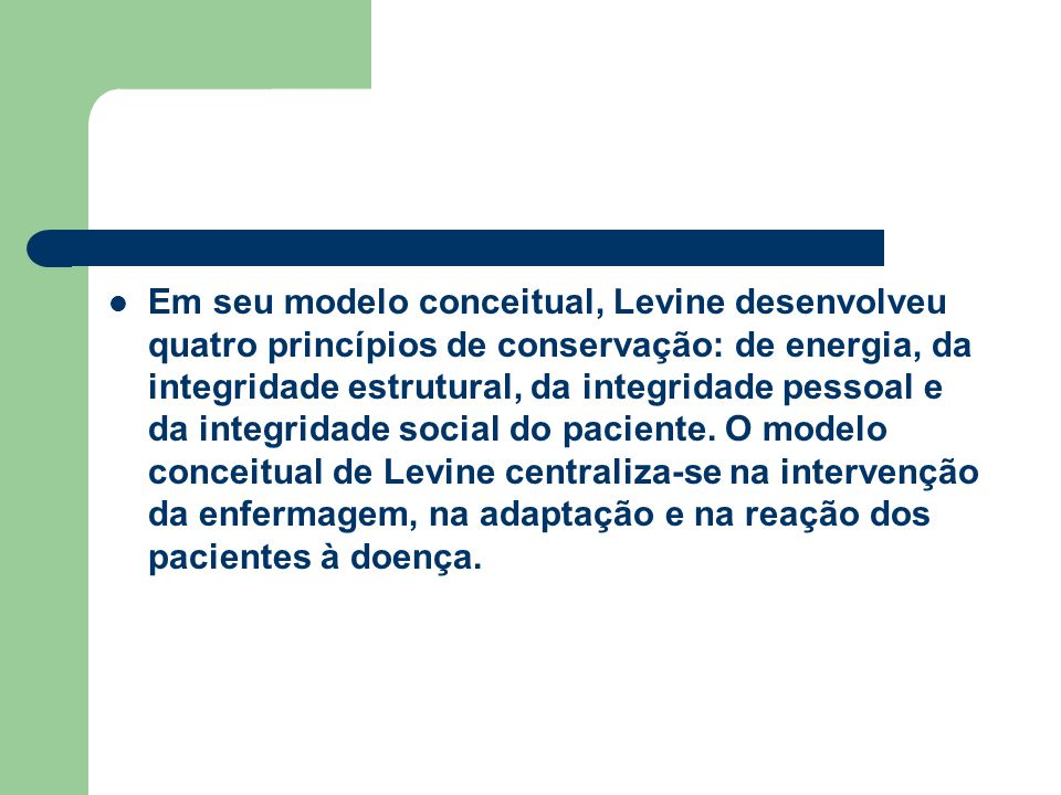 Em seu modelo conceitual, Levine desenvolveu quatro princípios de conservação: de energia, da integridade estrutural, da integridade pessoal e da inte