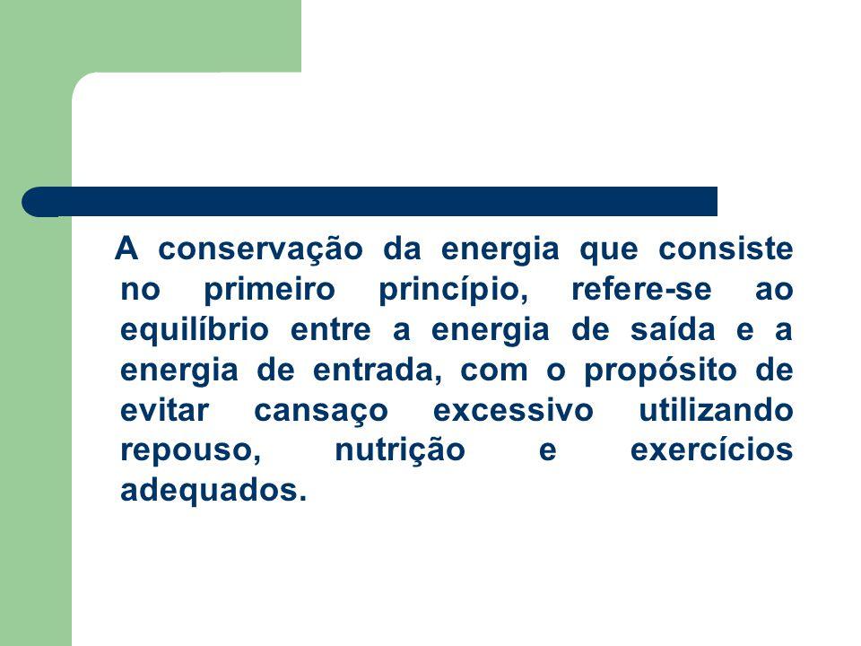 A conservação da energia que consiste no primeiro princípio, refere-se ao equilíbrio entre a energia de saída e a energia de entrada, com o propósito