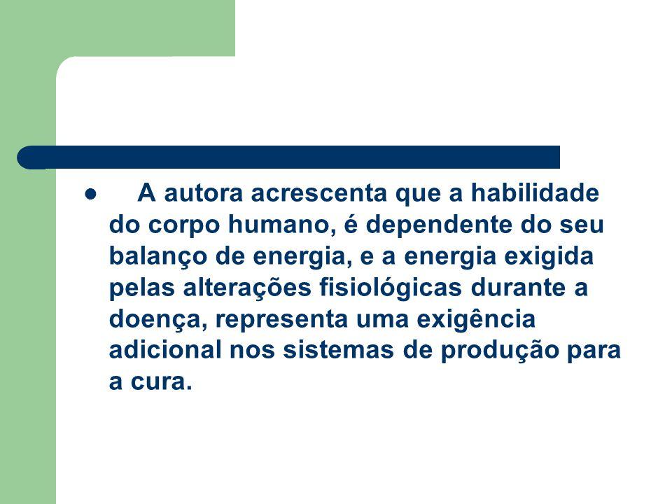 A autora acrescenta que a habilidade do corpo humano, é dependente do seu balanço de energia, e a energia exigida pelas alterações fisiológicas durant