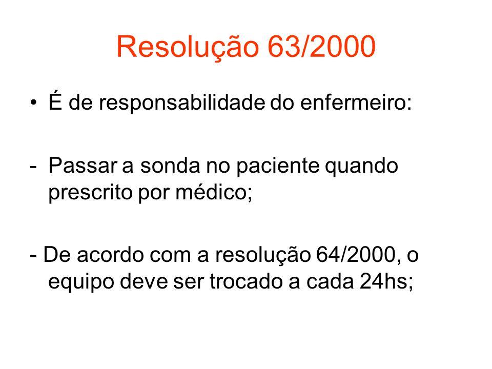 Resolução 63/2000 É de responsabilidade do enfermeiro: -Passar a sonda no paciente quando prescrito por médico; - De acordo com a resolução 64/2000, o