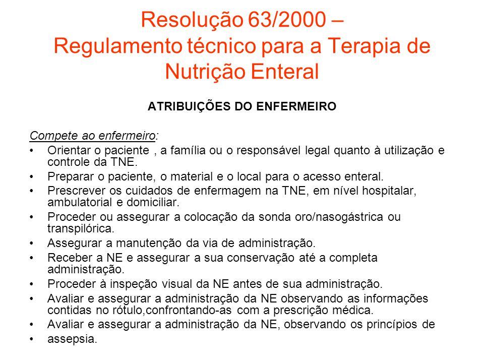 Resolução 63/2000 – Regulamento técnico para a Terapia de Nutrição Enteral ATRIBUIÇÕES DO ENFERMEIRO Compete ao enfermeiro: Orientar o paciente, a fam