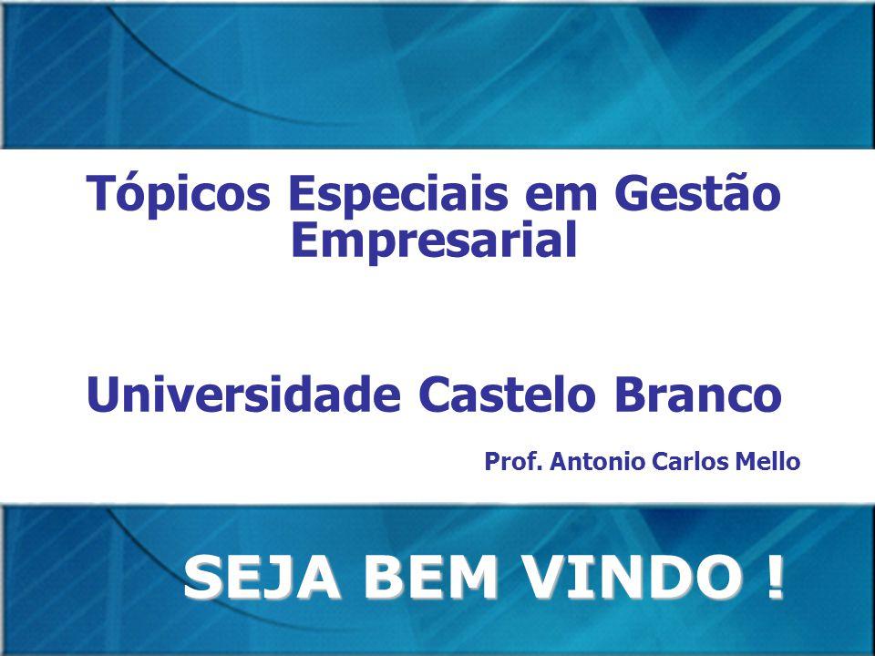 SEJA BEM VINDO ! Tópicos Especiais em Gestão Empresarial Universidade Castelo Branco Prof. Antonio Carlos Mello