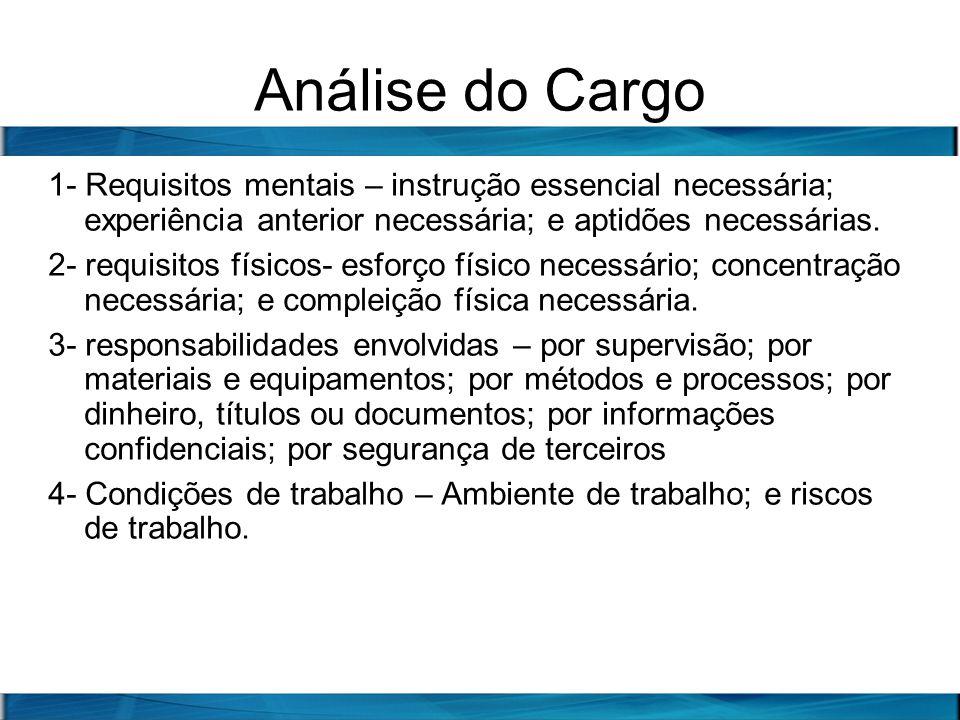 Análise do Cargo 1- Requisitos mentais – instrução essencial necessária; experiência anterior necessária; e aptidões necessárias. 2- requisitos físico