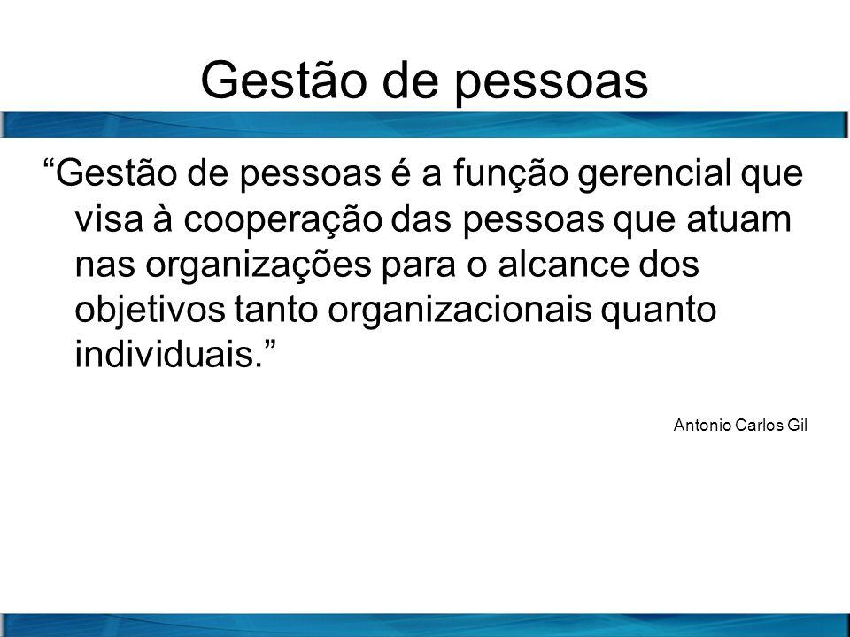 Gestão de pessoas Gestão de pessoas é a função gerencial que visa à cooperação das pessoas que atuam nas organizações para o alcance dos objetivos tan