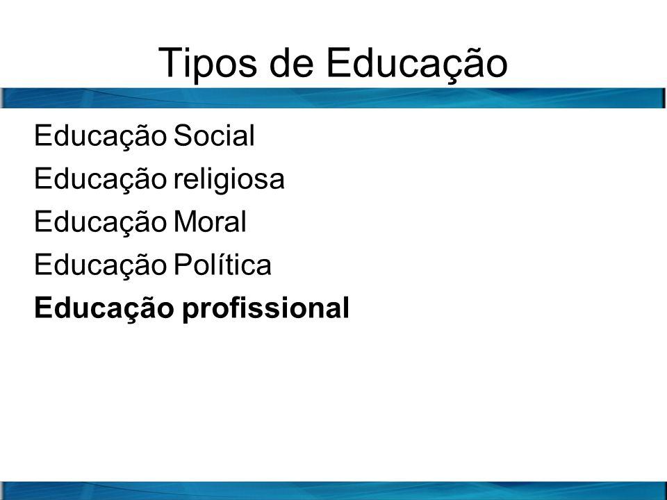 Tipos de Educação Educação Social Educação religiosa Educação Moral Educação Política Educação profissional