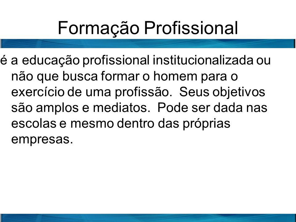 Formação Profissional é a educação profissional institucionalizada ou não que busca formar o homem para o exercício de uma profissão. Seus objetivos s
