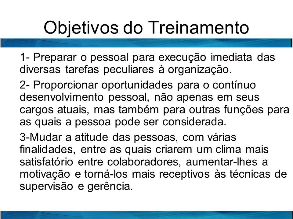 Objetivos do Treinamento 1- Preparar o pessoal para execução imediata das diversas tarefas peculiares à organização. 2- Proporcionar oportunidades par