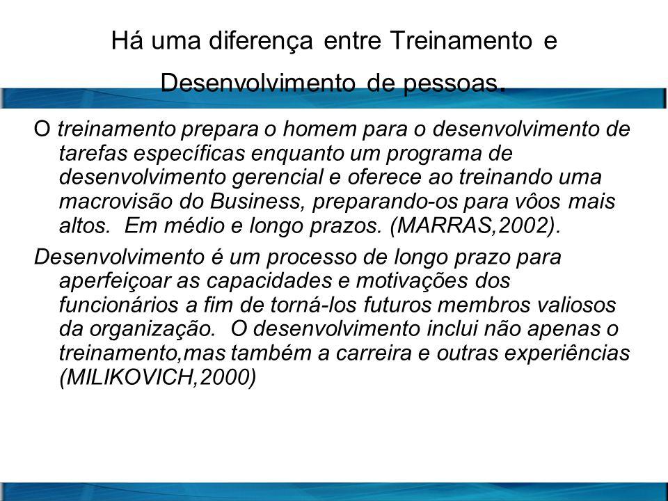 Há uma diferença entre Treinamento e Desenvolvimento de pessoas. O treinamento prepara o homem para o desenvolvimento de tarefas específicas enquanto