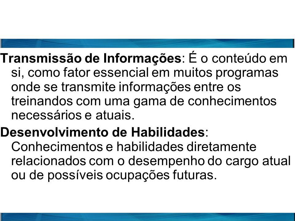 Transmissão de Informações: É o conteúdo em si, como fator essencial em muitos programas onde se transmite informações entre os treinandos com uma gam