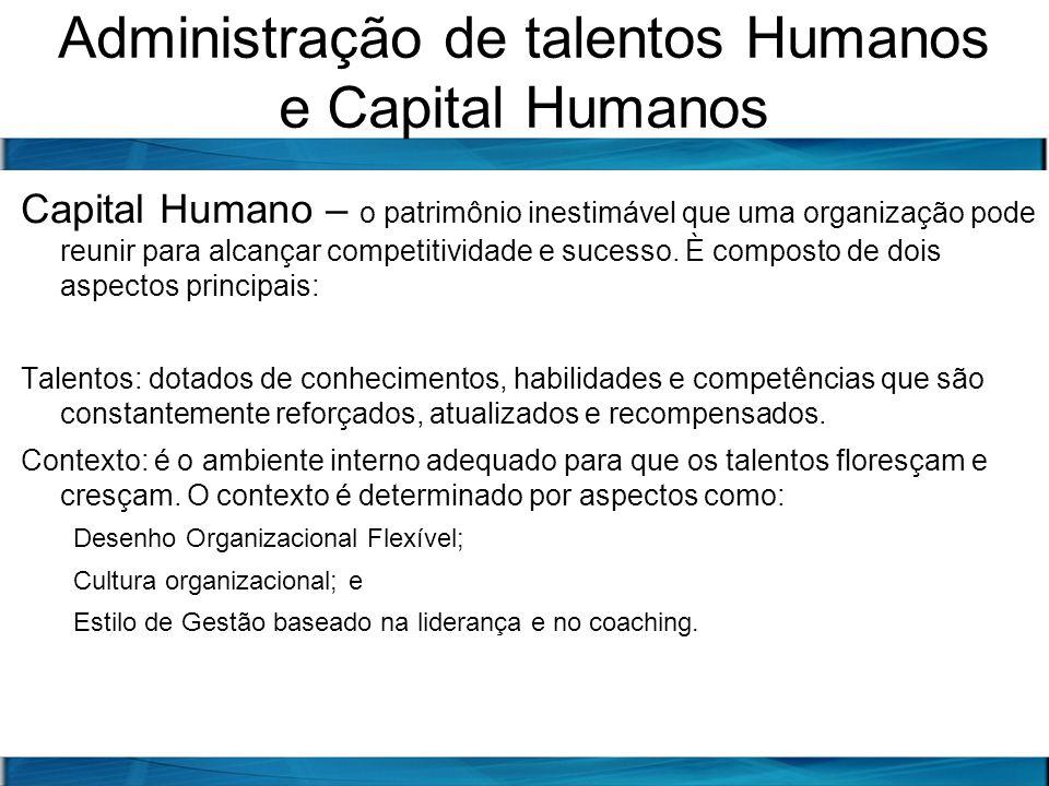 Administração de talentos Humanos e Capital Humanos Capital Humano – o patrimônio inestimável que uma organização pode reunir para alcançar competitiv