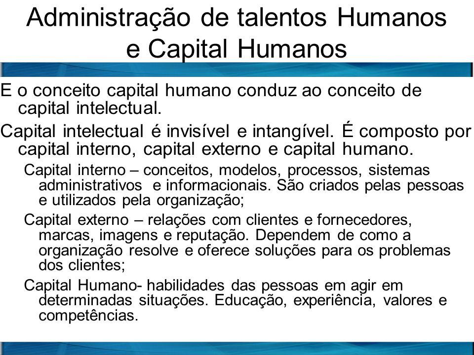 Administração de talentos Humanos e Capital Humanos E o conceito capital humano conduz ao conceito de capital intelectual. Capital intelectual é invis