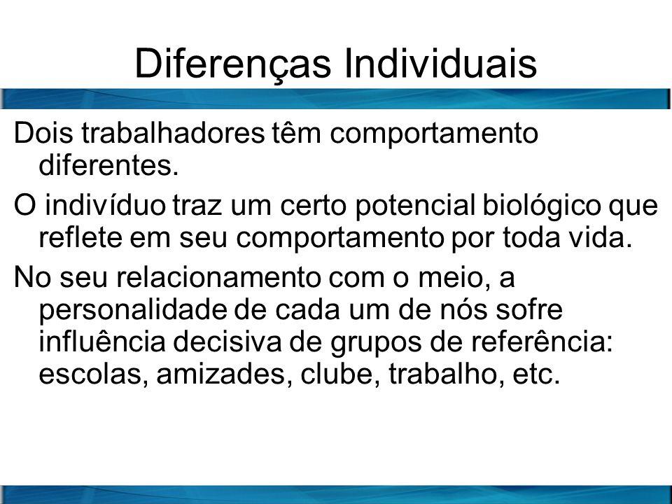 Diferenças Individuais Dois trabalhadores têm comportamento diferentes. O indivíduo traz um certo potencial biológico que reflete em seu comportamento