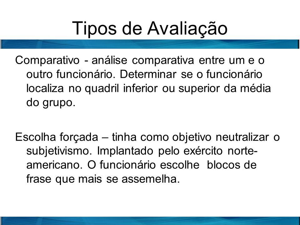 Tipos de Avaliação Comparativo - análise comparativa entre um e o outro funcionário. Determinar se o funcionário localiza no quadril inferior ou super