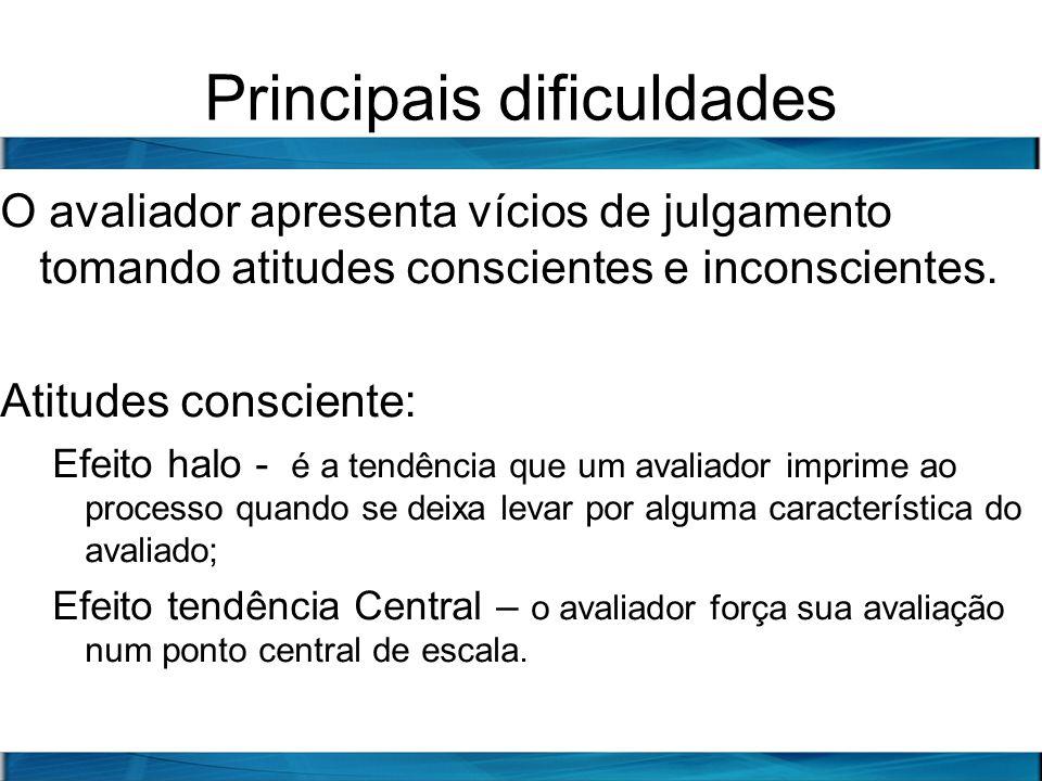 Principais dificuldades O avaliador apresenta vícios de julgamento tomando atitudes conscientes e inconscientes. Atitudes consciente: Efeito halo - é