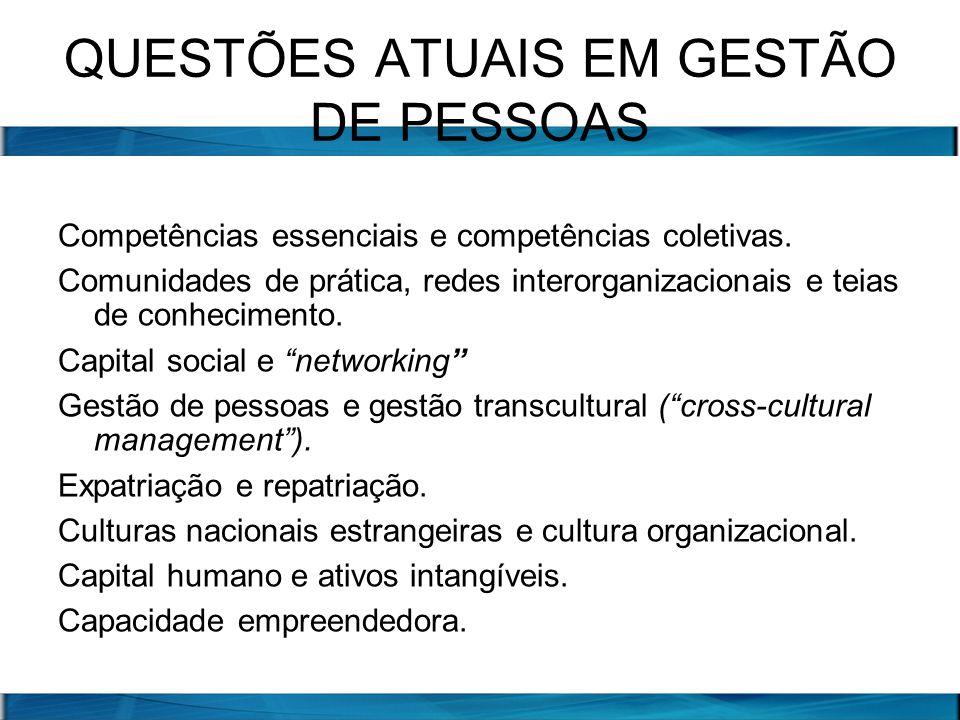 QUESTÕES ATUAIS EM GESTÃO DE PESSOAS Competências essenciais e competências coletivas. Comunidades de prática, redes interorganizacionais e teias de c