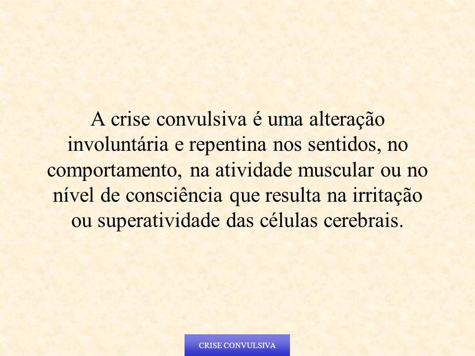 CRISE CONVULSIVA A crise convulsiva é uma alteração involuntária e repentina nos sentidos, no comportamento, na atividade muscular ou no nível de cons