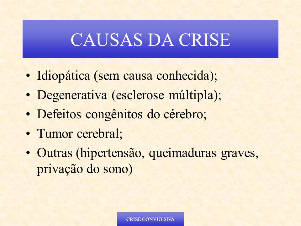 Idiopática (sem causa conhecida); Degenerativa (esclerose múltipla); Defeitos congênitos do cérebro; Tumor cerebral; Outras (hipertensão, queimaduras graves, privação do sono) CAUSAS DA CRISE CRISE CONVULSIVA