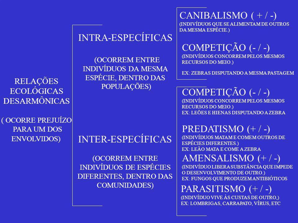 RELAÇÕES ECOLÓGICAS DESARMÔNICAS ( OCORRE PREJUÍZO PARA UM DOS ENVOLVIDOS) INTER-ESPECÍFICAS (OCORREM ENTRE INDIVÍDUOS DE ESPÉCIES DIFERENTES, DENTRO DAS COMUNIDADES) INTRA-ESPECÍFICAS (OCORREM ENTRE INDIVÍDUOS DA MESMA ESPÉCIE, DENTRO DAS POPULAÇÕES) CANIBALISMO ( + / -) (INDIVÍDUOS QUE SE ALIMENTAM DE OUTROS DA MESMA ESPÉCIE.) COMPETIÇÃO (- / -) (INDIVÍDUOS CONCORREM PELOS MESMOS RECURSOS DO MEIO.) EX: ZEBRAS DISPUTANDO A MESMA PASTAGEM COMPETIÇÃO (- / -) (INDIVÍDUOS CONCORREM PELOS MESMOS RECURSOS DO MEIO.) EX: LEÕES E HIENAS DISPUTANDO A ZEBRA PREDATISMO (+ / -) (INDIVÍDUOS MATAM E COMEM OUTROS DE ESPÉCIES DIFERENTES.) EX: LEÃO MATA E COME A ZEBRA AMENSALISMO (+ / -) (INDIVÍDUO LIBERA SUBSTÂNCIA QUE IMPEDE O DESENVOLVIMENTO DE OUTRO.) EX: FUNGOS QUE PRODUZEM ANTIBIÓTICOS PARASITISMO (+ / -) (INDIVÍDUO VIVE ÀS CUSTAS DE OUTRO,) EX: LOMBRIGAS, CARRAPATO, VÍRUS, ETC