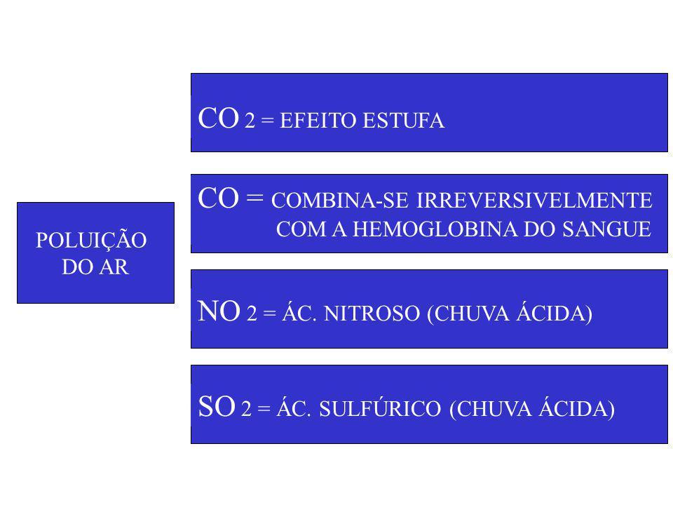 POLUIÇÃO DO AR CO 2 = EFEITO ESTUFA CO = COMBINA-SE IRREVERSIVELMENTE COM A HEMOGLOBINA DO SANGUE NO 2 = ÁC.