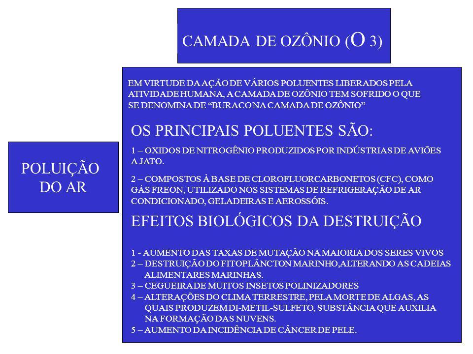 POLUIÇÃO DO AR CAMADA DE OZÔNIO ( O 3) EM VIRTUDE DA AÇÃO DE VÁRIOS POLUENTES LIBERADOS PELA ATIVIDADE HUMANA, A CAMADA DE OZÔNIO TEM SOFRIDO O QUE SE DENOMINA DE BURACO NA CAMADA DE OZÔNIO OS PRINCIPAIS POLUENTES SÃO: 1 – OXIDOS DE NITROGÊNIO PRODUZIDOS POR INDÚSTRIAS DE AVIÕES A JATO.