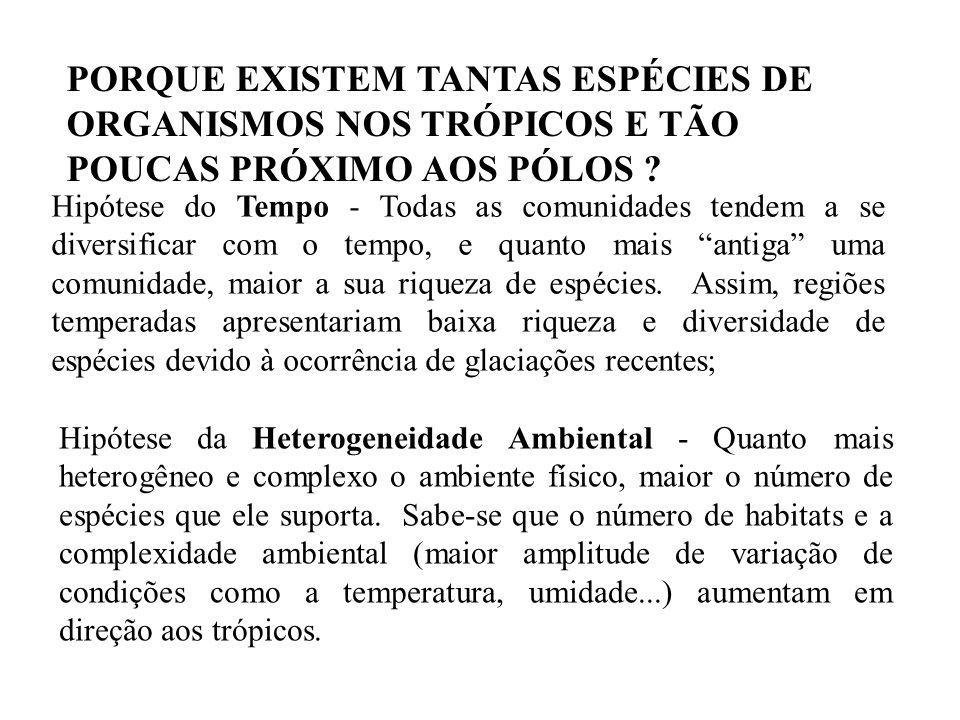 PORQUE EXISTEM TANTAS ESPÉCIES DE ORGANISMOS NOS TRÓPICOS E TÃO POUCAS PRÓXIMO AOS PÓLOS .