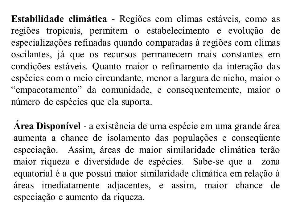 Estabilidade climática - Regiões com climas estáveis, como as regiões tropicais, permitem o estabelecimento e evolução de especializações refinadas quando comparadas à regiões com climas oscilantes, já que os recursos permanecem mais constantes em condições estáveis.