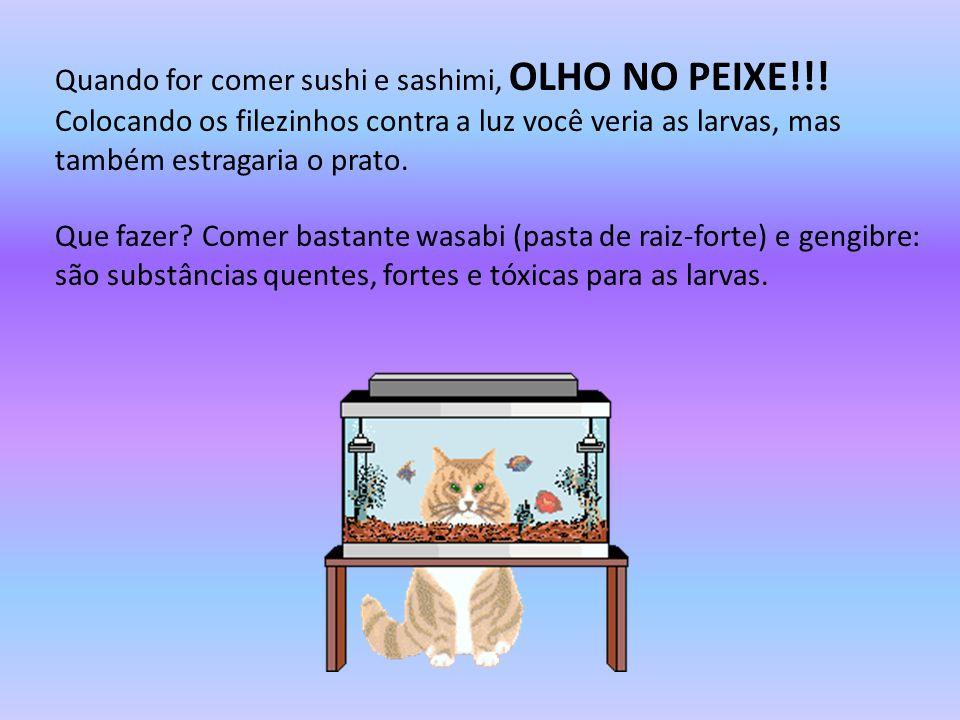 Quando for comer sushi e sashimi, OLHO NO PEIXE!!! Colocando os filezinhos contra a luz você veria as larvas, mas também estragaria o prato. Que fazer