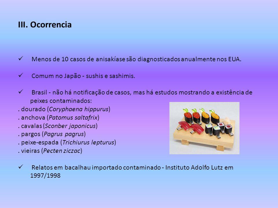 III.Ocorrencia Menos de 10 casos de anisakíase são diagnosticados anualmente nos EUA. Comum no Japão - sushis e sashimis. Brasil - não há notificação