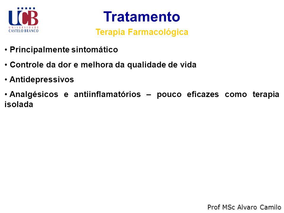 Tratamento Terapia Farmacológica Principalmente sintomático Controle da dor e melhora da qualidade de vida Antidepressivos Analgésicos e antiinflamatórios – pouco eficazes como terapia isolada Prof MSc Alvaro Camilo