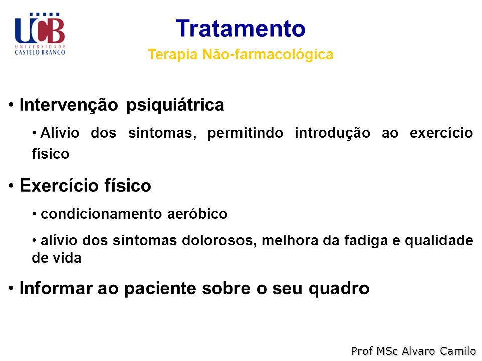 Tratamento Terapia Não-farmacológica Intervenção psiquiátrica Alívio dos sintomas, permitindo introdução ao exercício físico Exercício físico condicionamento aeróbico alívio dos sintomas dolorosos, melhora da fadiga e qualidade de vida Informar ao paciente sobre o seu quadro Prof MSc Alvaro Camilo