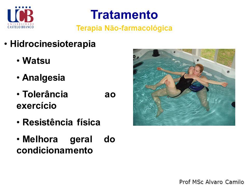 Tratamento Terapia Não-farmacológica Hidrocinesioterapia Watsu Analgesia Tolerância ao exercício Resistência física Melhora geral do condicionamento Prof MSc Alvaro Camilo