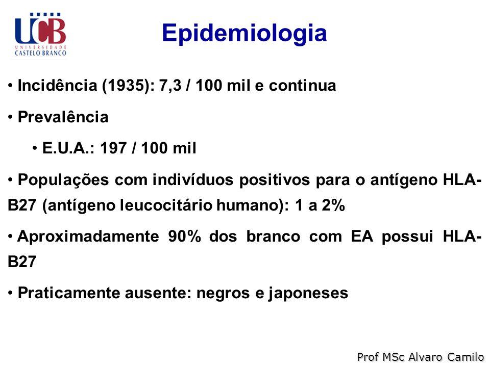 Epidemiologia Incidência (1935): 7,3 / 100 mil e continua Prevalência E.U.A.: 197 / 100 mil Populações com indivíduos positivos para o antígeno HLA- B27 (antígeno leucocitário humano): 1 a 2% Aproximadamente 90% dos branco com EA possui HLA- B27 Praticamente ausente: negros e japoneses Prof MSc Alvaro Camilo