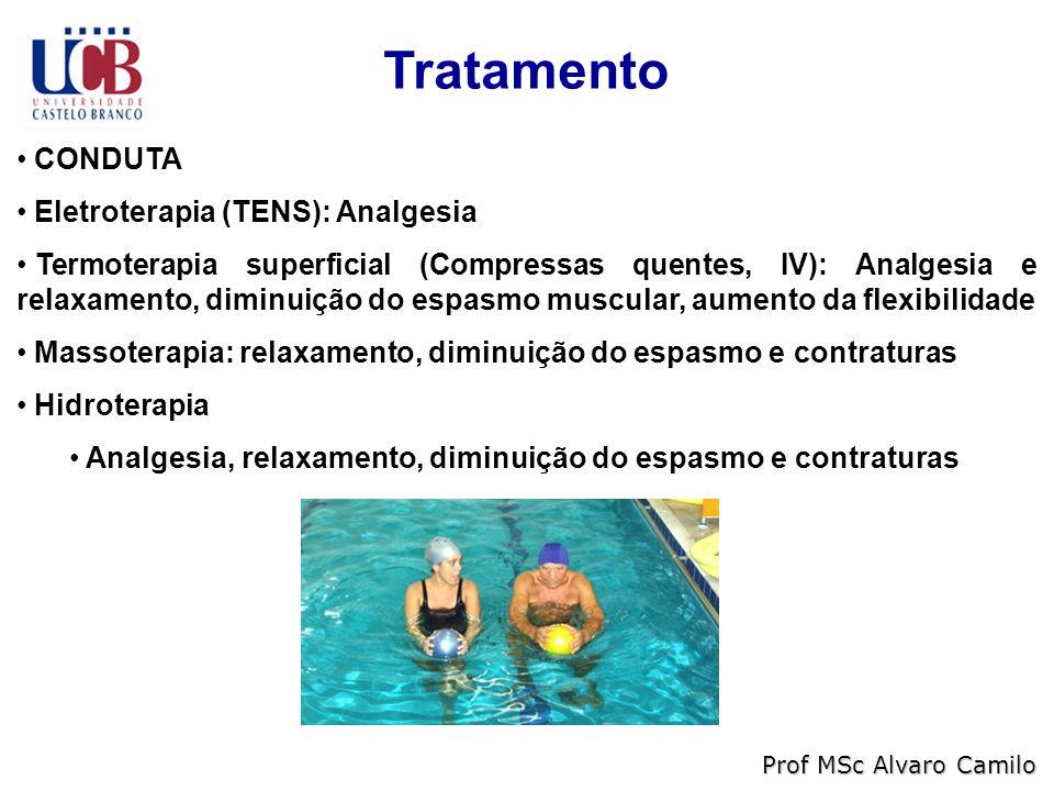 Tratamento CONDUTA Eletroterapia (TENS): Analgesia Termoterapia superficial (Compressas quentes, IV): Analgesia e relaxamento, diminuição do espasmo muscular, aumento da flexibilidade Massoterapia: relaxamento, diminuição do espasmo e contraturas Hidroterapia Analgesia, relaxamento, diminuição do espasmo e contraturas Prof MSc Alvaro Camilo
