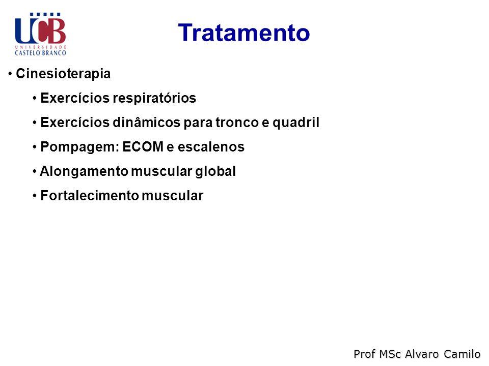 Tratamento Cinesioterapia Exercícios respiratórios Exercícios dinâmicos para tronco e quadril Pompagem: ECOM e escalenos Alongamento muscular global Fortalecimento muscular Prof MSc Alvaro Camilo