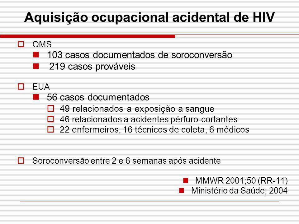 Aquisição ocupacional acidental de HIV OMS 103 casos documentados de soroconversão 219 casos prováveis EUA 56 casos documentados 49 relacionados a exp