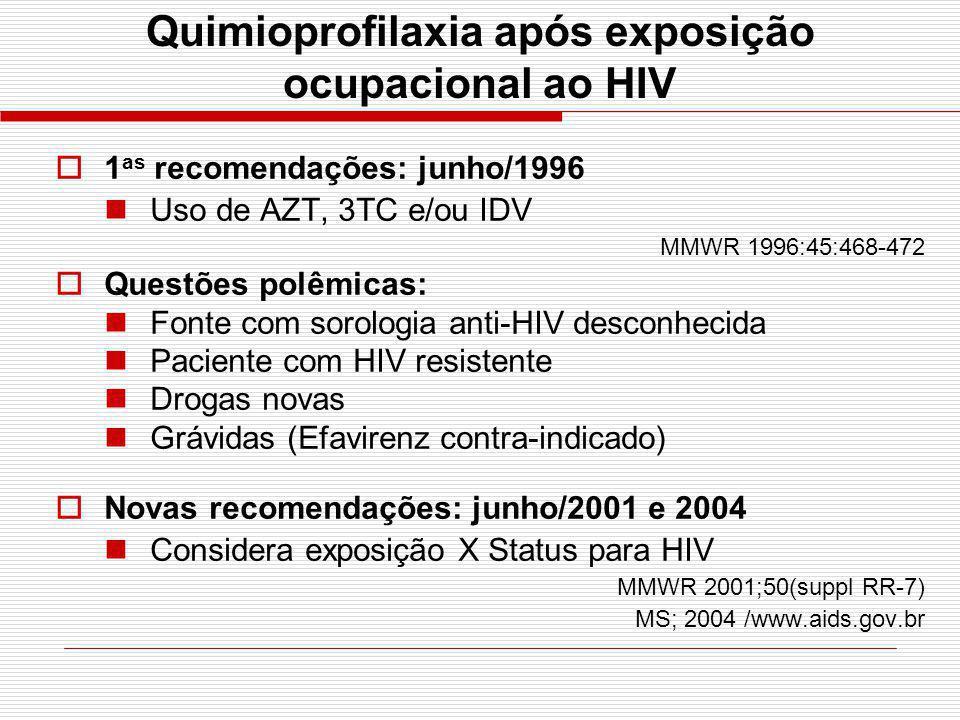Quimioprofilaxia após exposição ocupacional ao HIV 1 as recomendações: junho/1996 Uso de AZT, 3TC e/ou IDV MMWR 1996:45:468-472 Questões polêmicas: Fo