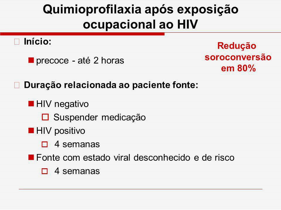 Quimioprofilaxia após exposição ocupacional ao HIV •Início: precoce - até 2 horas •Duração relacionada ao paciente fonte: HIV negativo Suspender medic