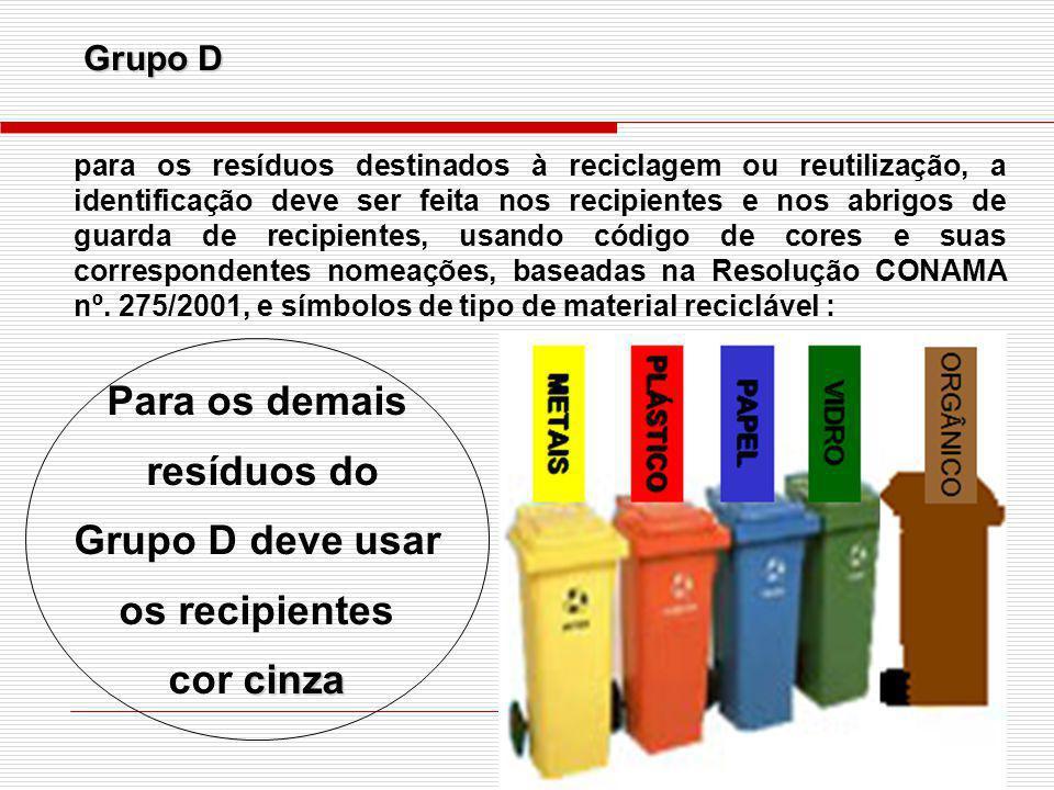Grupo D para os resíduos destinados à reciclagem ou reutilização, a identificação deve ser feita nos recipientes e nos abrigos de guarda de recipiente