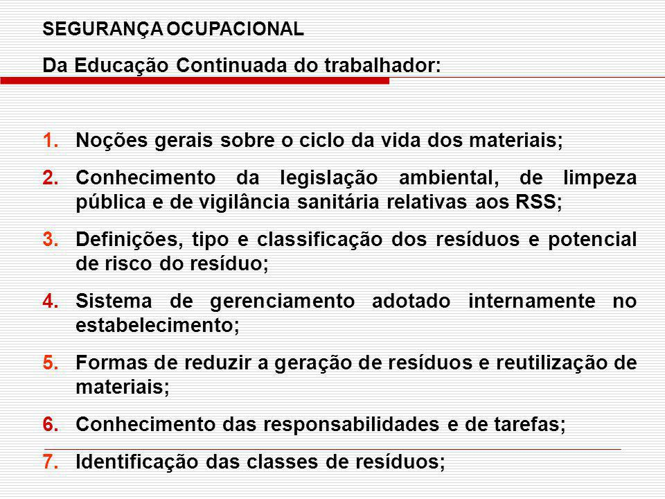SEGURANÇA OCUPACIONAL Da Educação Continuada do trabalhador: 1.Noções gerais sobre o ciclo da vida dos materiais; 2.Conhecimento da legislação ambient