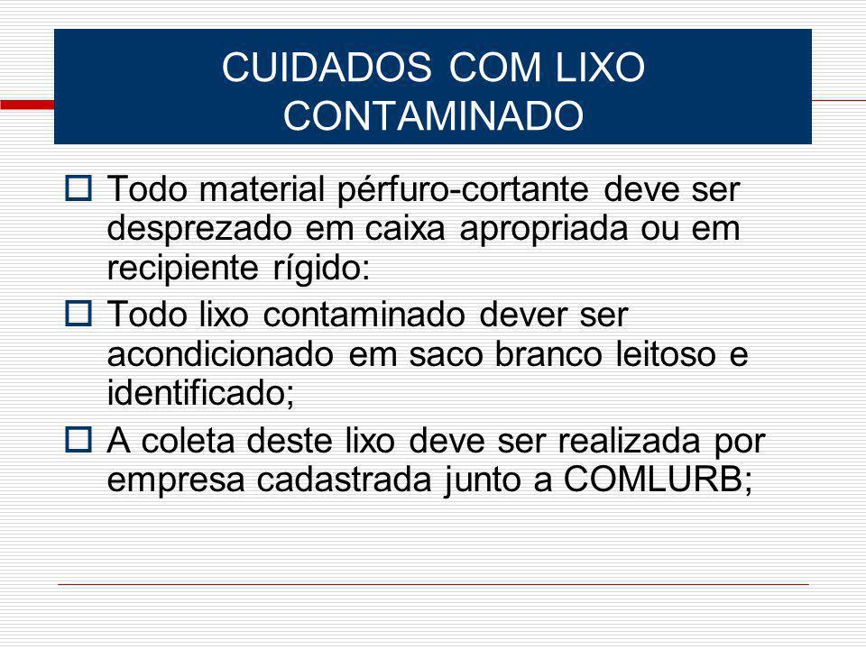 CUIDADOS COM LIXO CONTAMINADO Todo material pérfuro-cortante deve ser desprezado em caixa apropriada ou em recipiente rígido: Todo lixo contaminado de
