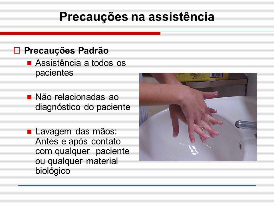 Precauções na assistência Precauções Padrão Assistência a todos os pacientes Não relacionadas ao diagnóstico do paciente Lavagem das mãos: Antes e apó